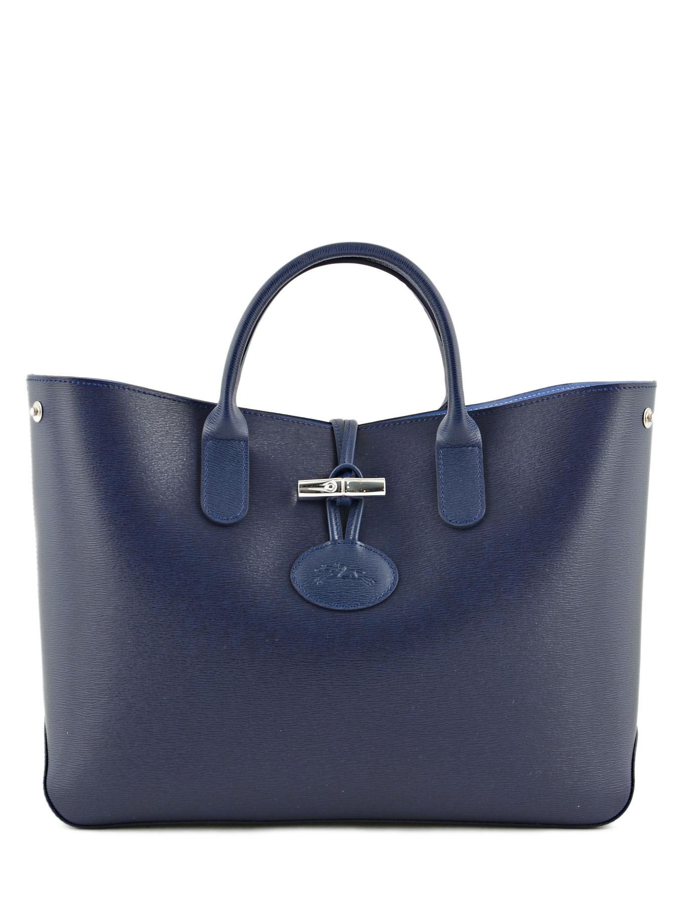 Sac à Main Bleu Longchamp : Sac port main longchamp roseau en vente au meilleur