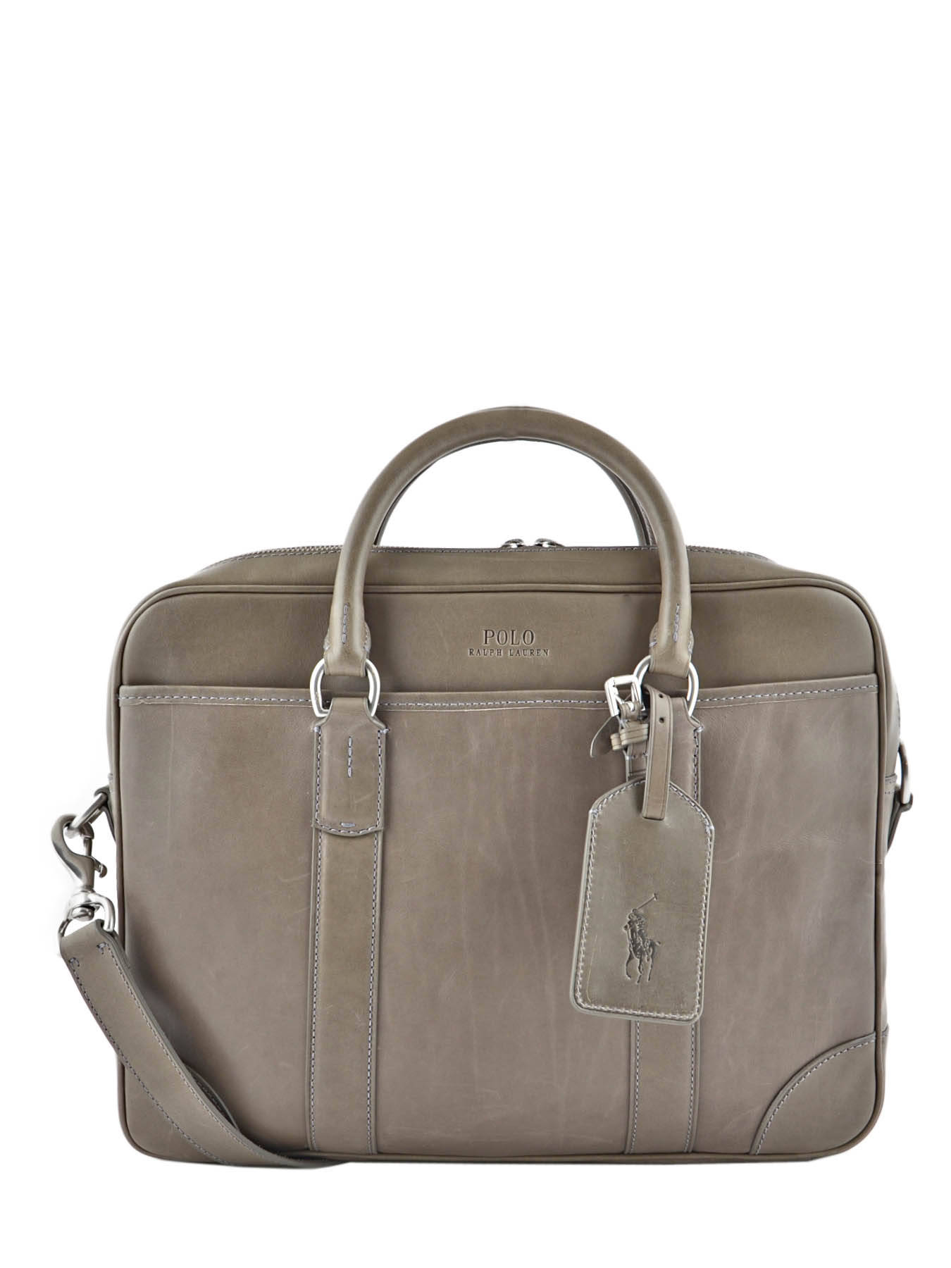 ... Briefcase Polo ralph lauren Gray leather commuter A92XZ6NI ...