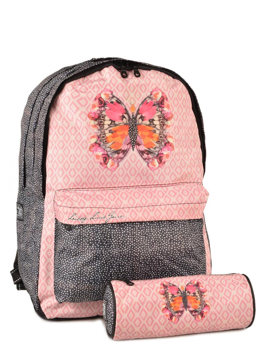sac dos laissez lucie faire butterfly rose en vente au meilleur prix. Black Bedroom Furniture Sets. Home Design Ideas