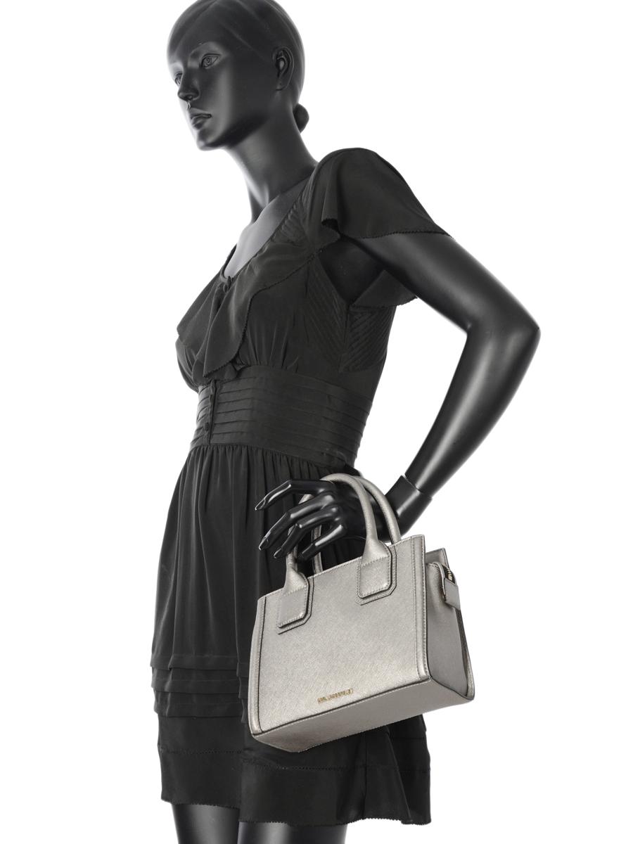 Top Handle Klassik Leather Karl lagerfeld Gray klassik 66KW3006-vue-porte