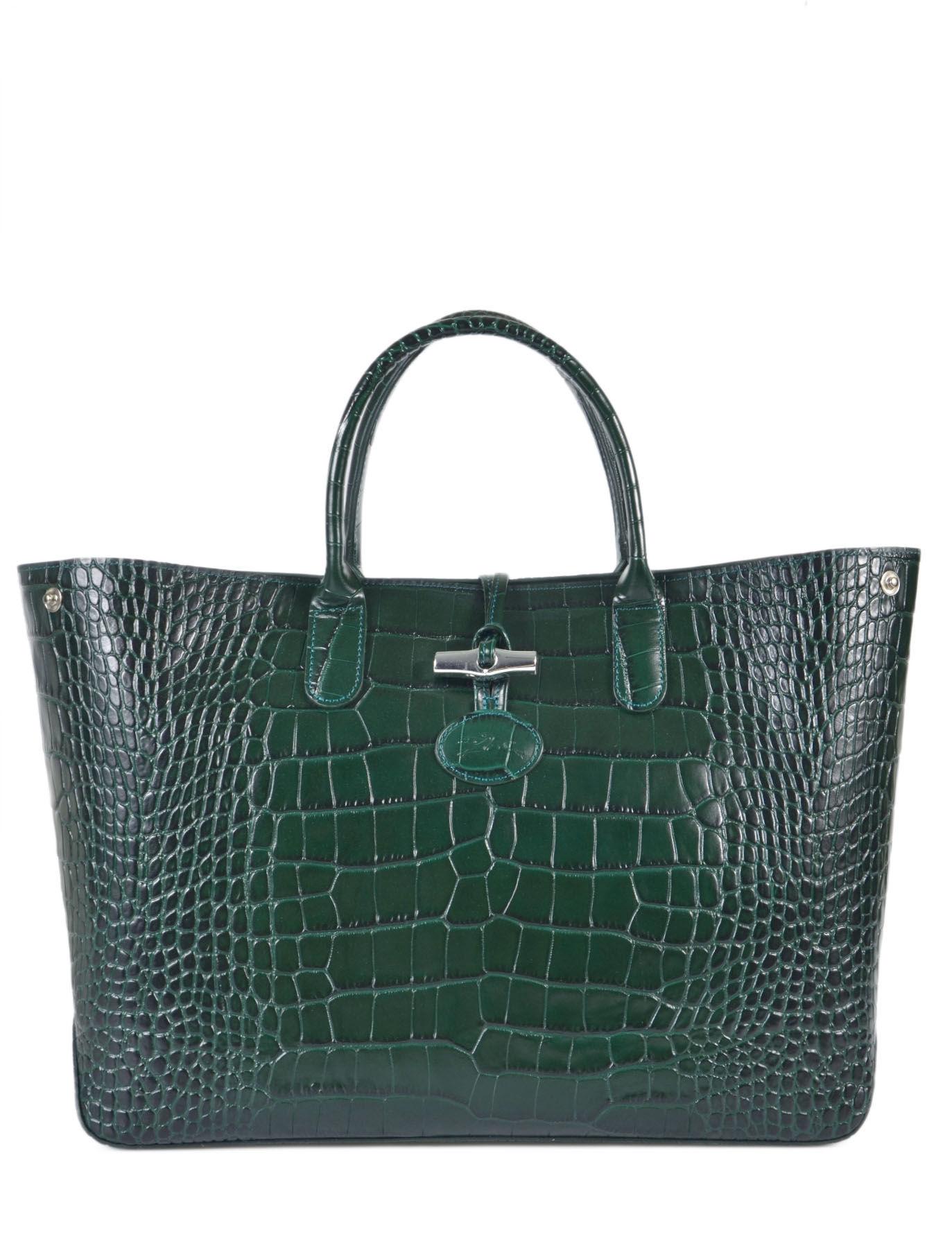 Sac Longchamp Roseau Porté épaule : Sac port main longchamp roseau croco sapin en vente au