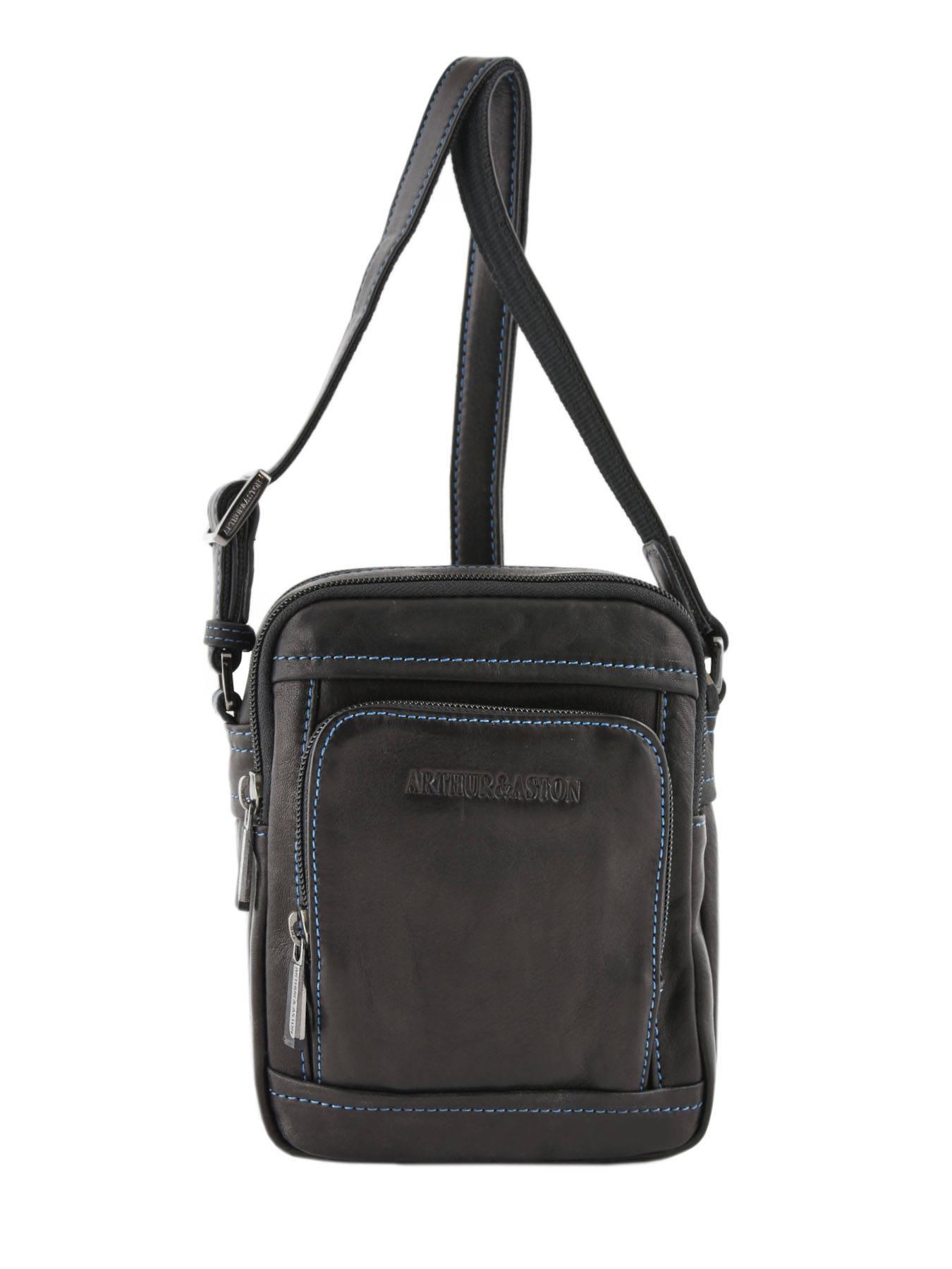 besace sac bandouli re arthur et aston noir bleu en vente au meilleur prix. Black Bedroom Furniture Sets. Home Design Ideas