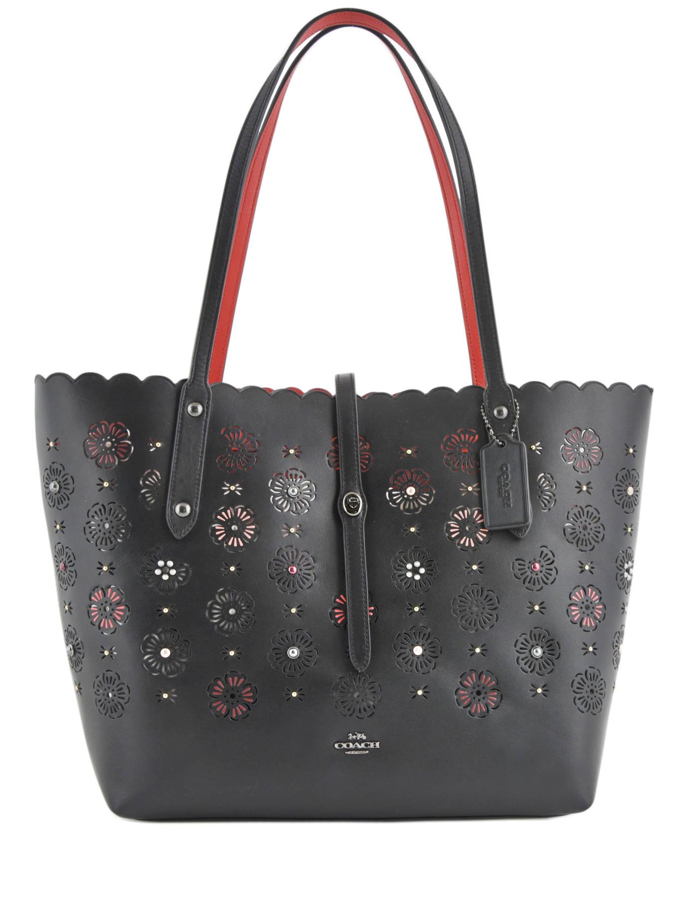 ... Shoulder Bag Tote Leather Coach Black tote 25195 ... 8c0d9e6d7885a