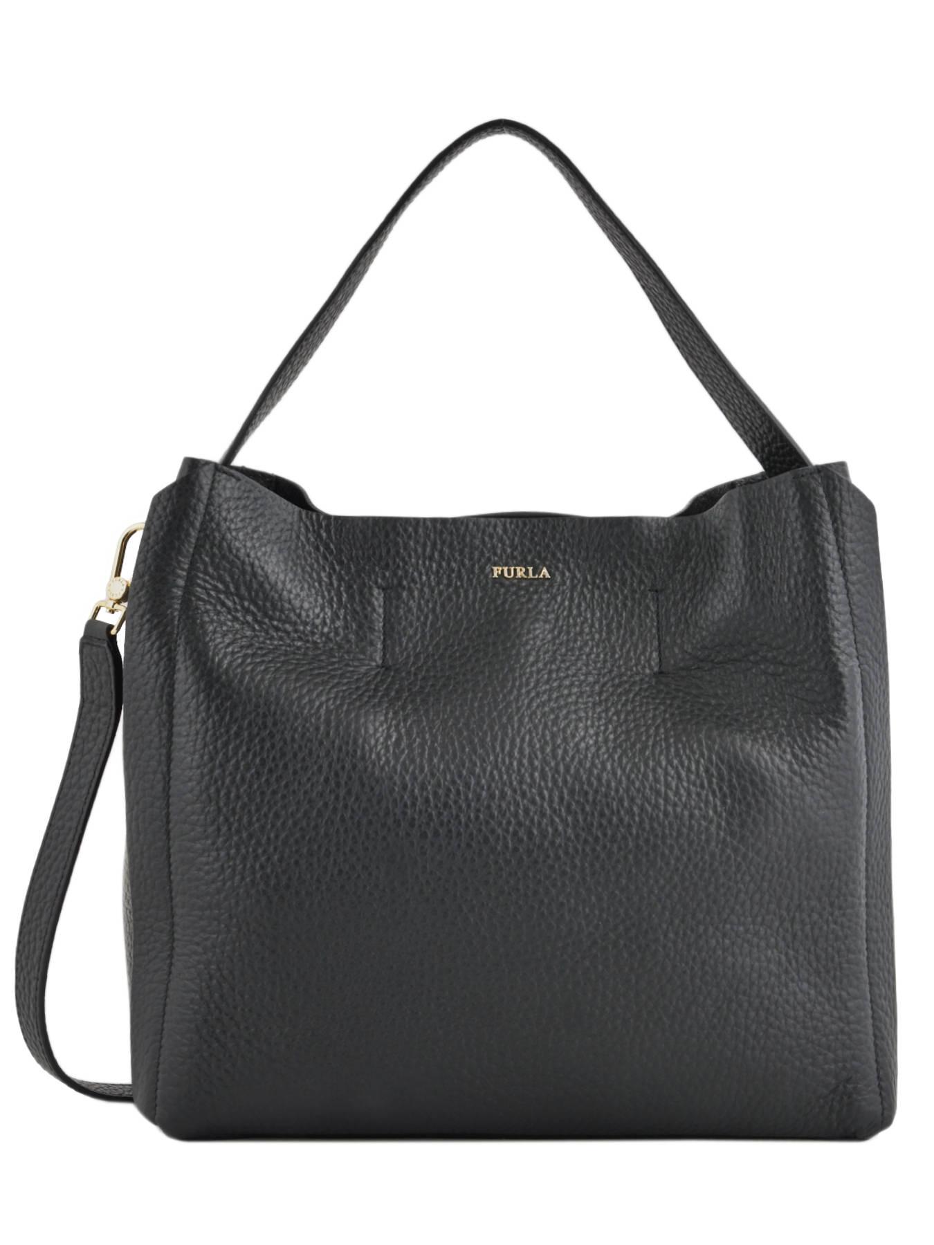 b7e946feda ... Hobo Bag Capriccio Leather Furla Black capriccio LN2-BHE6 ...
