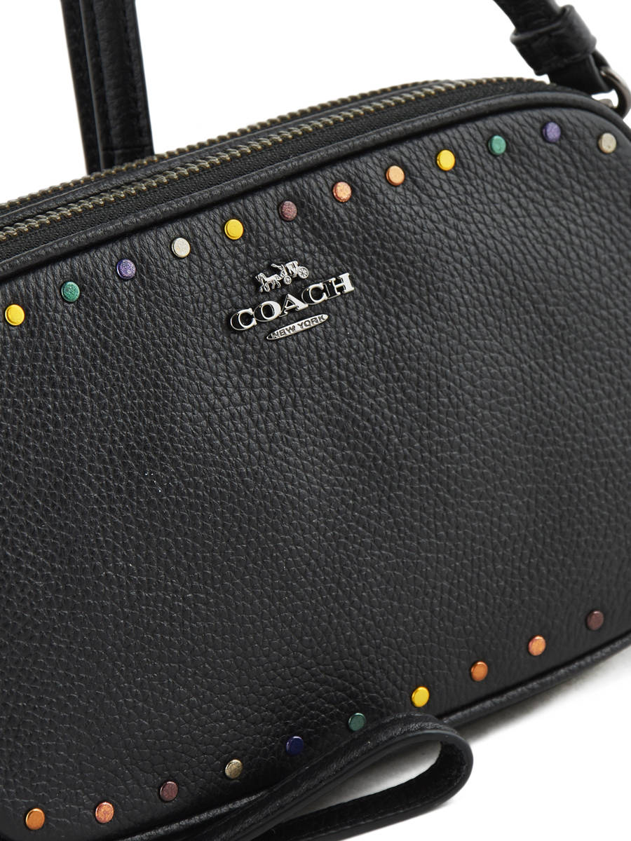 32a54cd12a ... Shoulder Bag Rainbow Rivets Leather Coach Black clutch 32478 other view  1 ...