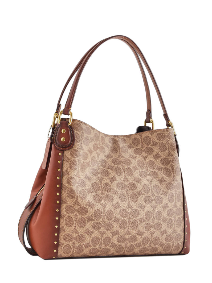355cac61cd ... Edie Signature Canvas Shopper Leather Coach Brown edie 30220 other view  4 ...