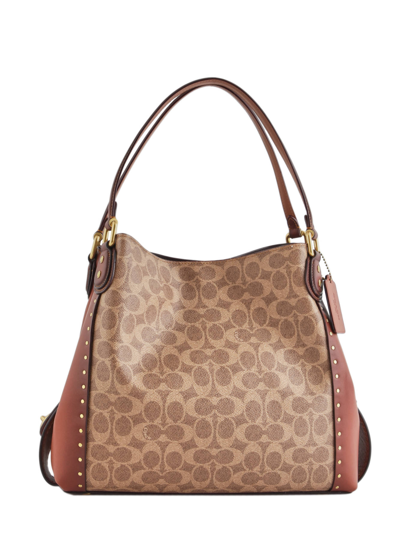 823d319c7d ... Edie Signature Canvas Shopper Leather Coach Brown edie 30220 ...