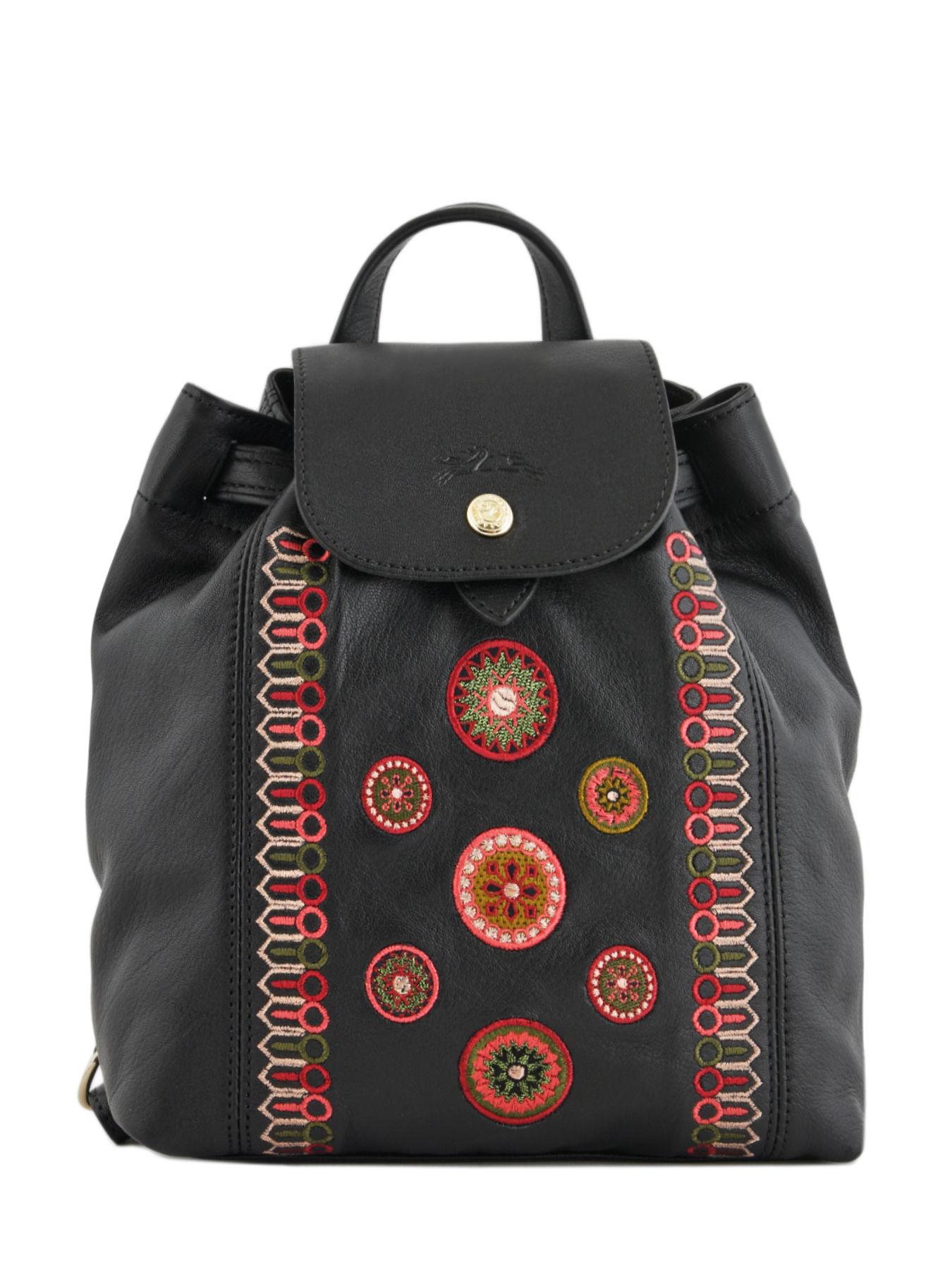 ... Longchamp Le pliage cuir rosace Backpack Black ... 7edea3e76345a