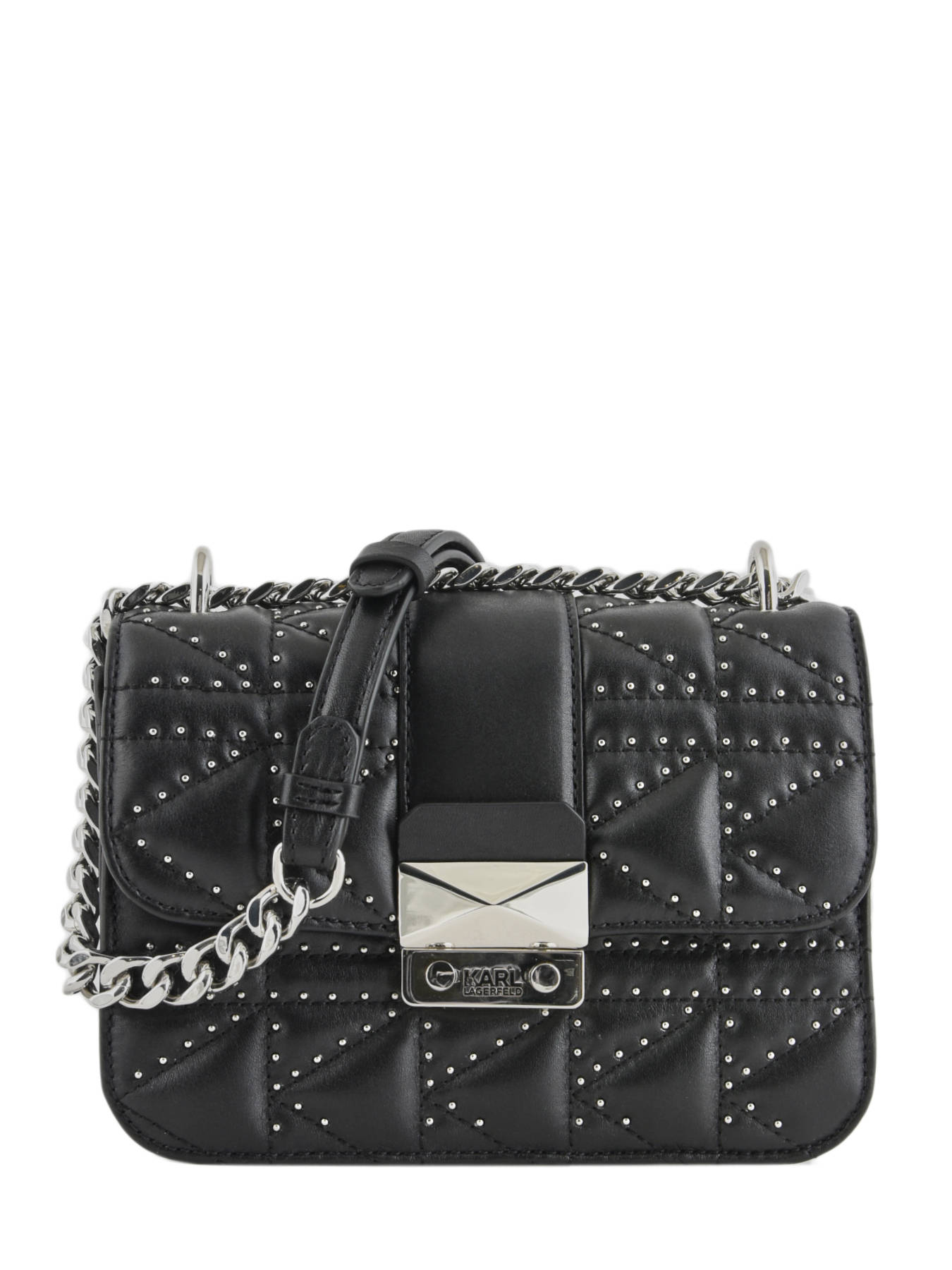 ba503ff47da4 ... Shoulder Bag Kuilted Studs Leather Karl lagerfeld Black kuilted studs  91KW3048 ...