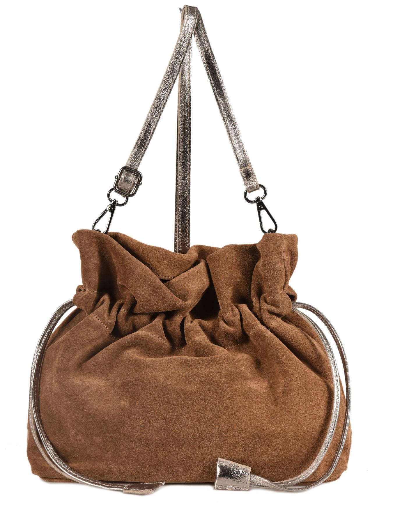 37c42e59b348 ... Crossbody Bag Velvet Leather Milano Brown velvet VE31731 ...