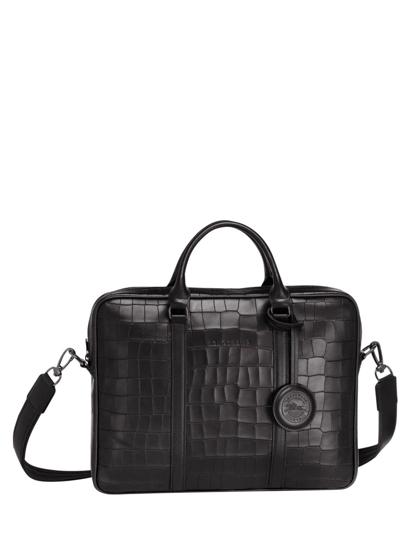 caa0d47b0 Longchamp Croco block Briefcase Black ...