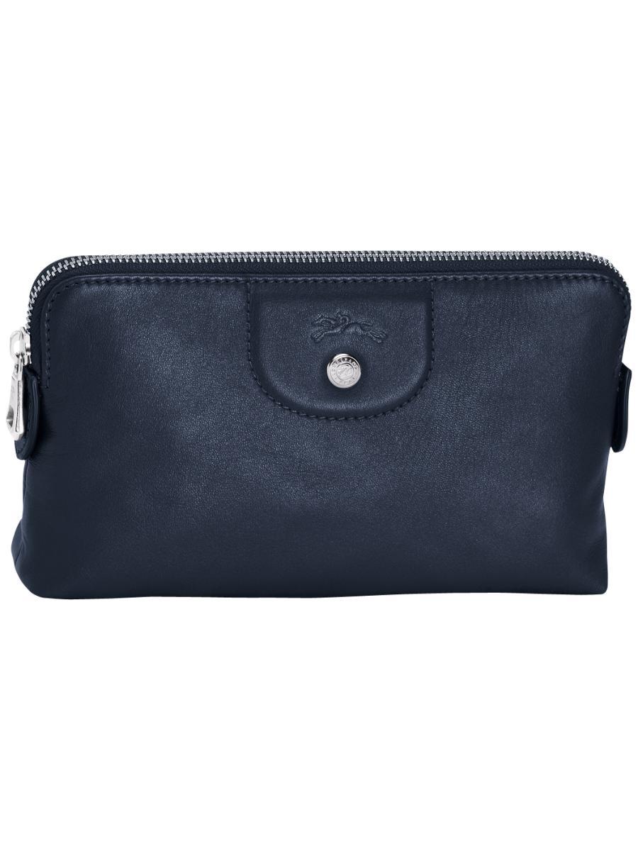 Longchamp Le pliage cuir Pochette Bleu