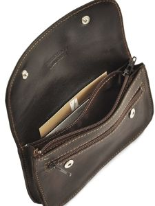 Purse Leather Foures Brown 9206-vue-porte