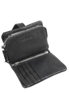 Wallet Leather Nat et nin Black vintage JOYCE-vue-porte