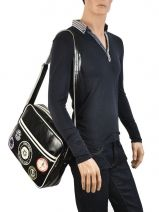 Sac Bandoulière A4 Fred perry Noir authentic L3174-vue-porte