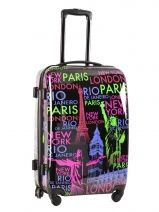 Valise 4 Roues Rigide Travel Multicolore print shinny PT5006-M