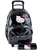 Sac A Dos A Roulettes+trousse Hello kitty Noir classic dot's HPR22080