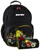 Sac A Dos 2 Compartiments + Trousse Angry birds Noir target AGU22074