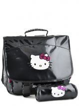 Cartable 2 Compartiments Avec Trousse Assortie Hello kitty Noir classic dot