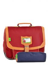 Cartable 1 Compartiment Avec Trousse Offerte Tann's Rouge kid classic 14CA35
