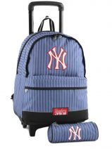 Sac A Dos A Roulettes 2 Compart + Trousse Mlb/new-york yankees Bleu couture NYX22045