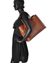 Shoulder Bag A4 Tate Leather Lauren ralph lauren Brown tate L3365-vue-porte