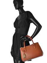 Sac Porté Main New Bury Cuir Lauren ralph lauren Marron new bury LNDZS-vue-porte