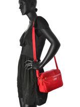Shoulder Bag Basic Vernis Lancaster Red basic vernis 514-62-vue-porte