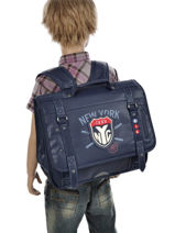 Satchel 2 Compartments Ikks Blue nyc 5NYCA38-vue-porte
