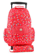 Sac A Dos A Roulettes 2 Compartiments + Trousse Roxy Rouge kid LBP03017