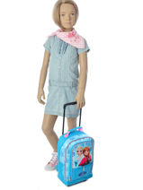 Wheeled Backpack Reine des neiges Blue pyping 440FAN-vue-porte