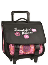 Wheeled Schoolbag Miniprix Black beautiful flower 1205