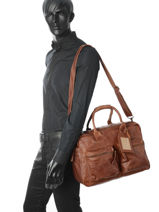 Briefcase 1 Compartment A4 Cowboysbag Brown vegetal 1030-vue-porte