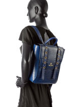 Backpack Ted lapidus Blue boston TLDX406-vue-porte