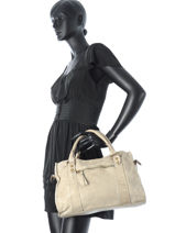 Shopping Bag Nude Leather Basilic pepper Gray nude 5701-vue-porte