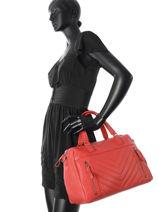 Sac Shopping Vintage Cuir Nat et nin Rouge vintage PANAMA-vue-porte