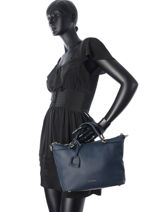Shopping Bag Tradition Leather Etrier Blue tradition EHER012-vue-porte