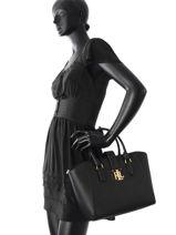 Sac Trapèze Carrington Cuir Lauren ralph lauren Noir carrington N91XZ0BG-vue-porte