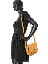 Shoulder Bag Caleche Leather Etrier Yellow caleche ECAL008B-vue-porte