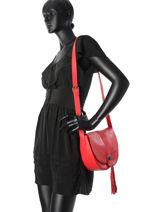 Shoulder Bag Vintage Leather Nat et nin Red vintage ALBA-vue-porte