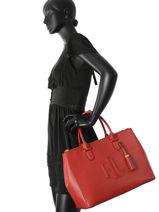 Top Handle A4 Anstey Leather Lauren ralph lauren Red anstey N91XZAFF-vue-porte