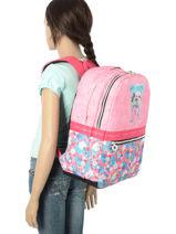 Backpack 2 Compartments Teo jasmin Pink teo kawai TEN22074-vue-porte