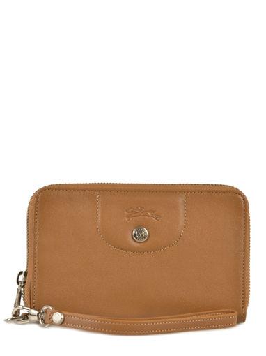 Longchamp Le pliage cuir Wallet Beige