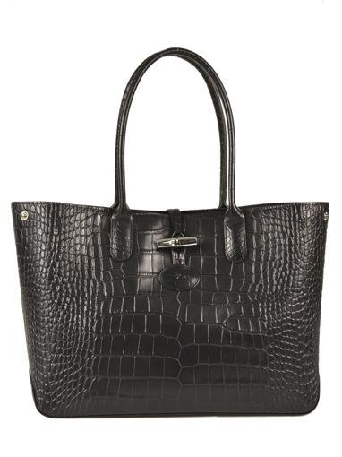 Longchamp Roseau Croco Besaces Noir