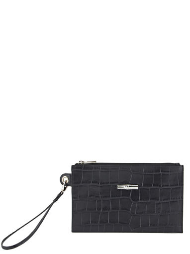 Longchamp Roseau Croco Clutch / cosmetic case Black