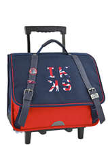 Wheeled Schoolbag 2 Compartments Ikks Blue union jack russel 42854