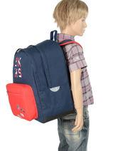 Backpack Ikks Blue union jack russel 63854-vue-porte