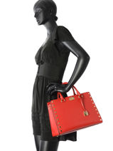 Shopping Bag Sylvie Leather Michael kors Red sylvie T7GYFS3L-vue-porte