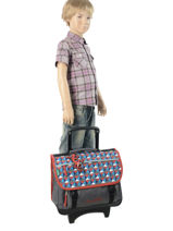 Wheeled Schoolbag 2 Compartments Cameleon Gray new basic NBACA38R-vue-porte