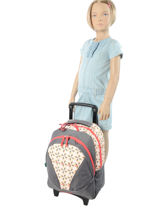 Wheeled Backpack 2 Compartments Cameleon Pink new basic NBA-BORR-vue-porte